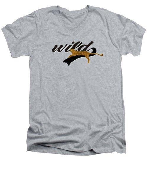 Wild Men's V-Neck T-Shirt by Priscilla Wolfe