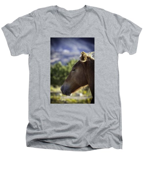 Wild Profile Men's V-Neck T-Shirt by Elizabeth Eldridge