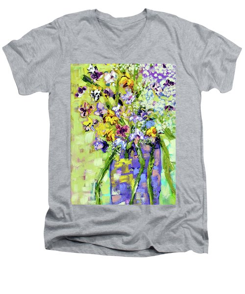 Wild Profusion Men's V-Neck T-Shirt by Lynda Cookson