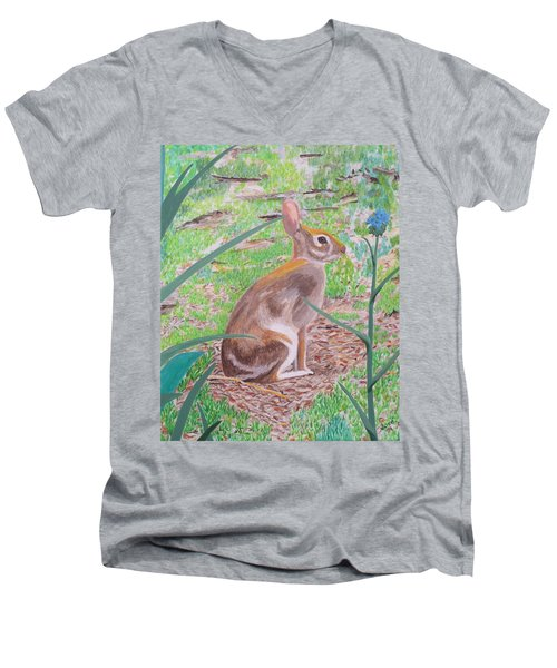 Wild Rabbit Men's V-Neck T-Shirt by Hilda and Jose Garrancho