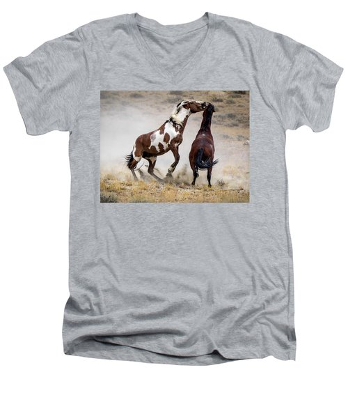 Wild Stallion Battle - Picasso And Dragon Men's V-Neck T-Shirt by Nadja Rider