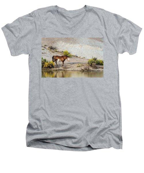 Wild Stallion Of Sand Wash Basin, Raindance Men's V-Neck T-Shirt