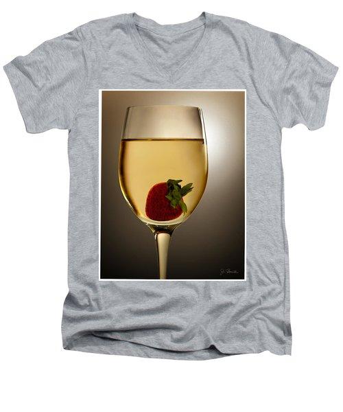 Men's V-Neck T-Shirt featuring the photograph Wild Strawberry by Joe Bonita