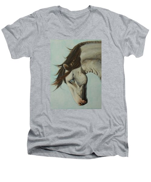 Men's V-Neck T-Shirt featuring the painting Wild Thing by Jane See
