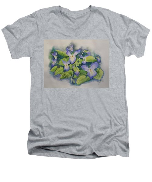 Wild Violets Men's V-Neck T-Shirt by Marilyn Zalatan