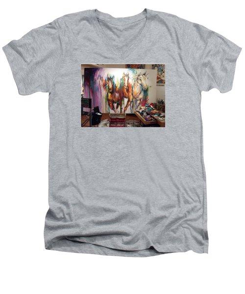 Wild Wild Horses Men's V-Neck T-Shirt by Heather Roddy