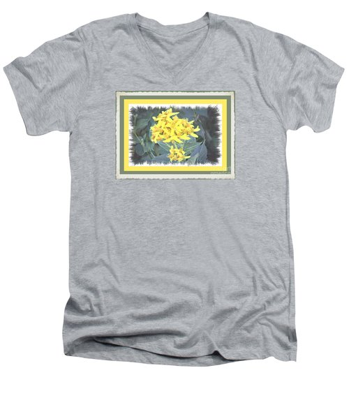 Men's V-Neck T-Shirt featuring the photograph Wild Yellow Weed by Shirley Moravec