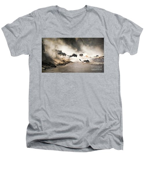 Wildebeest Leap Of Faith Into The Mara River Men's V-Neck T-Shirt
