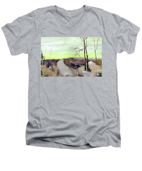 Men's V-Neck T-Shirt featuring the painting Wilderness 2 by Anil Nene