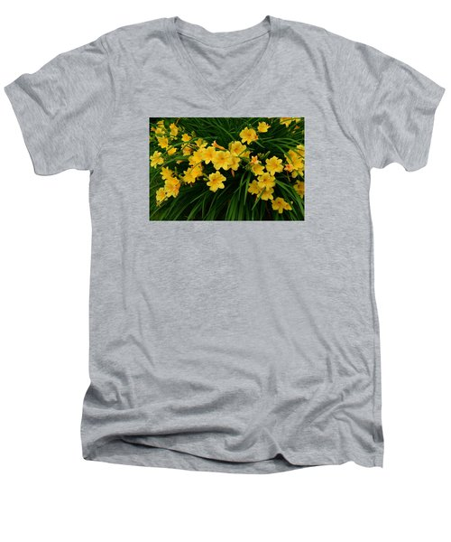Wildflower Bouquet Men's V-Neck T-Shirt by Linda Edgecomb