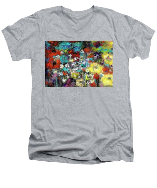 Men's V-Neck T-Shirt featuring the painting Wildflower Field by Frances Marino