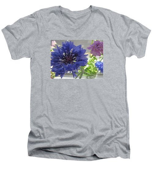Wildflower Fluff Men's V-Neck T-Shirt by Barbara McDevitt