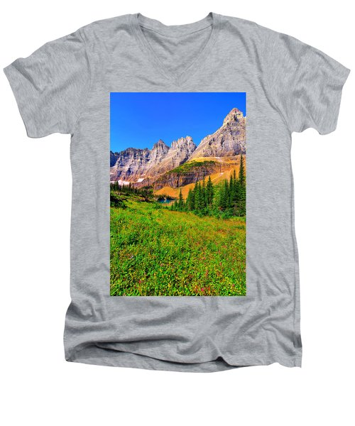 Wildflower Meadow Beneath The Ptarmigan Wall Men's V-Neck T-Shirt by Greg Norrell