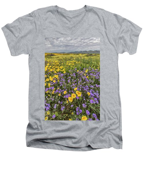 Men's V-Neck T-Shirt featuring the photograph Wildflower Super Bloom by Peter Tellone
