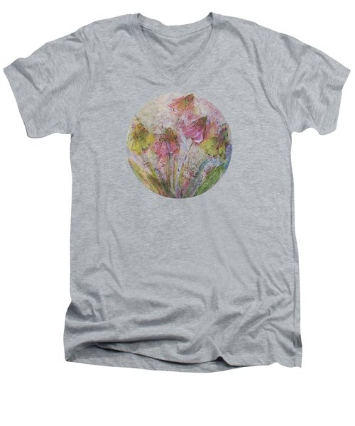Men's V-Neck T-Shirt featuring the painting Wildflowers 2 by Mary Wolf