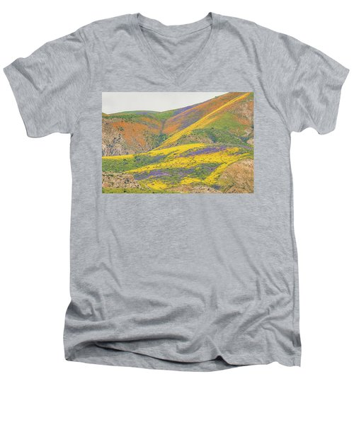 Men's V-Neck T-Shirt featuring the photograph Wildflowers At The Summit by Marc Crumpler