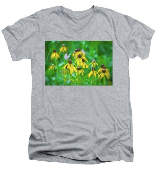 Men's V-Neck T-Shirt featuring the photograph Wildflowers Of Yellow by Bill Pevlor