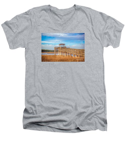 Wildlife Viewing Pier Men's V-Neck T-Shirt by Marion Johnson