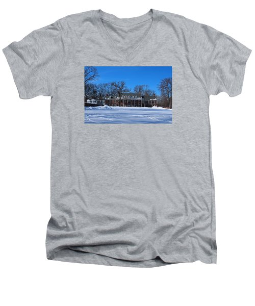 Wildwood Manor House In The Winter Men's V-Neck T-Shirt by Michiale Schneider