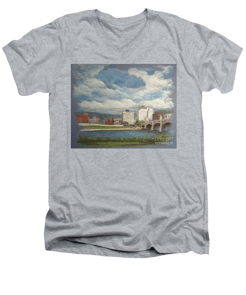 Wilkes-barre And River Men's V-Neck T-Shirt by Christina Verdgeline