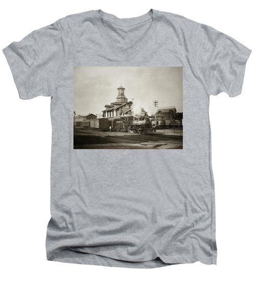 Wilkes Barre Pa. New Jersey Central Train Station Early 1900's Men's V-Neck T-Shirt