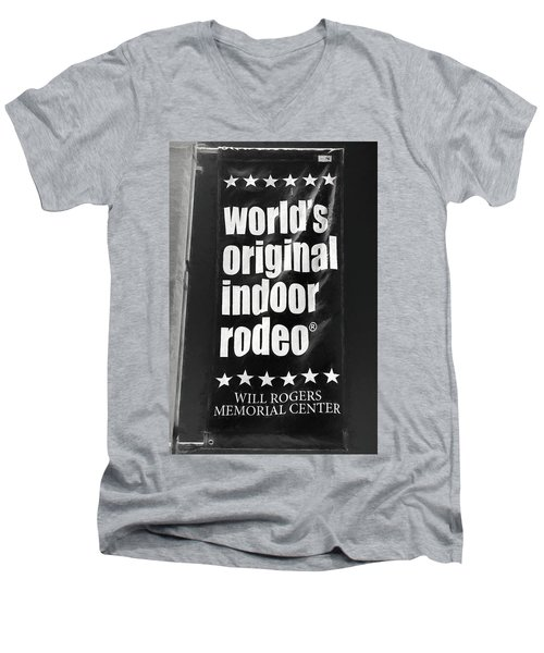 Will Rogers Rodeo Bw Men's V-Neck T-Shirt