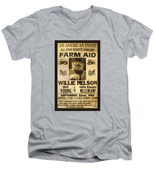 Willie Nelson Neil Young 1985 Farm Aid Poster Men's V-Neck T-Shirt by John Stephens