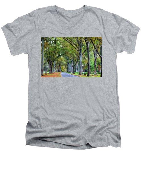 Willow Oak Trees Men's V-Neck T-Shirt