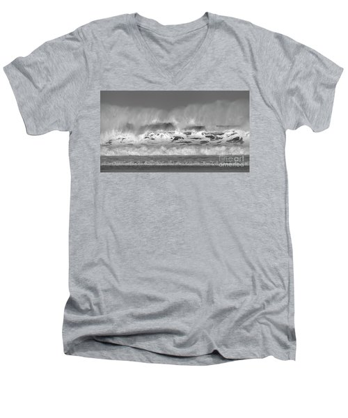 Men's V-Neck T-Shirt featuring the photograph Wind Blown Waves by Nicholas Burningham