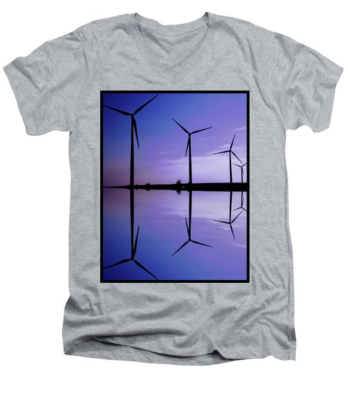Wind Energy Turbines At Dusk Men's V-Neck T-Shirt