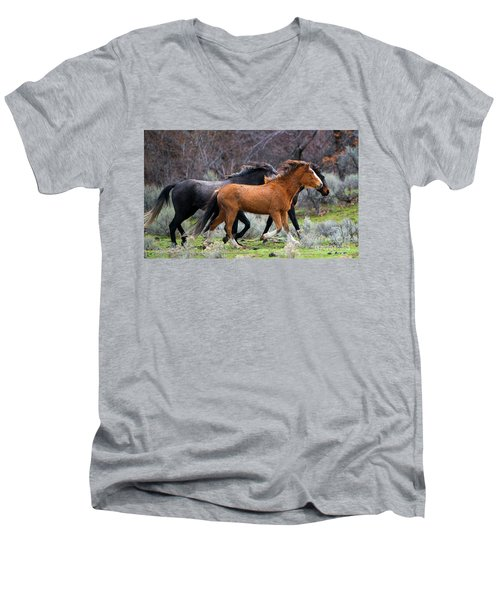 Men's V-Neck T-Shirt featuring the photograph Wind In The Manes by Mike Dawson