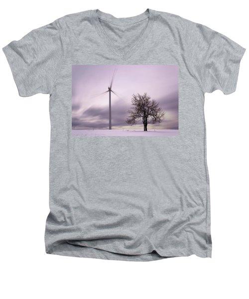 Wind Power Station, Ore Mountains, Czech Republic Men's V-Neck T-Shirt
