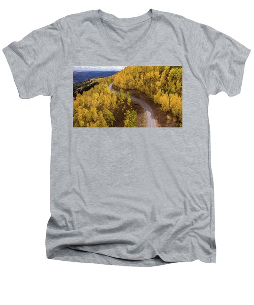Men's V-Neck T-Shirt featuring the photograph Winding Through Fall by Wesley Aston