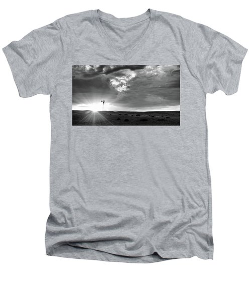 Windmill At Sunset Men's V-Neck T-Shirt by Monte Stevens
