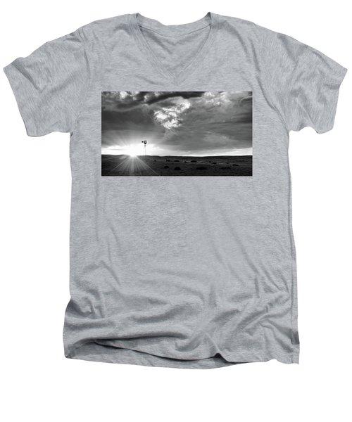 Windmill At Sunset Men's V-Neck T-Shirt