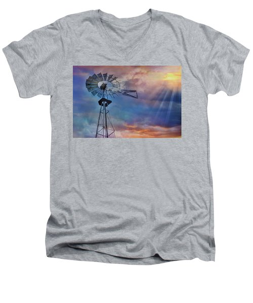 Men's V-Neck T-Shirt featuring the photograph Windmill At Sunset by Susan Candelario