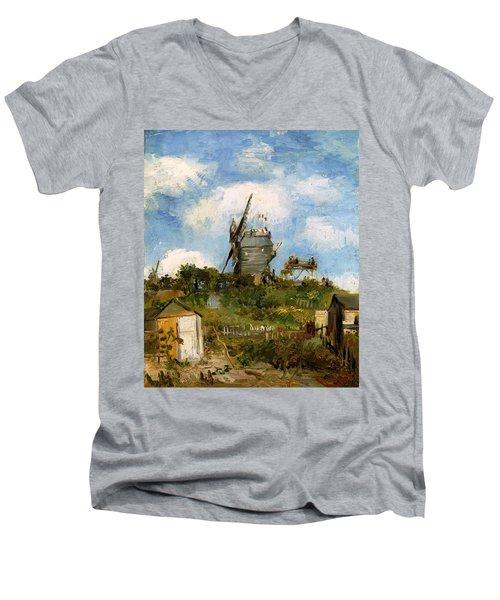 Windmill In Farm Men's V-Neck T-Shirt