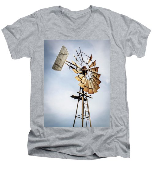 Men's V-Neck T-Shirt featuring the photograph Windmill In The Sky by Dawn Romine