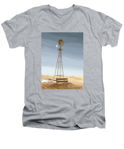 Windmill Men's V-Neck T-Shirt by Terry Frederick