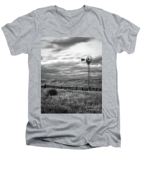Men's V-Neck T-Shirt featuring the photograph Windmill by Vincent Bonafede