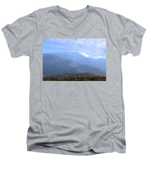 Windmills At San Jacinto Mt Men's V-Neck T-Shirt