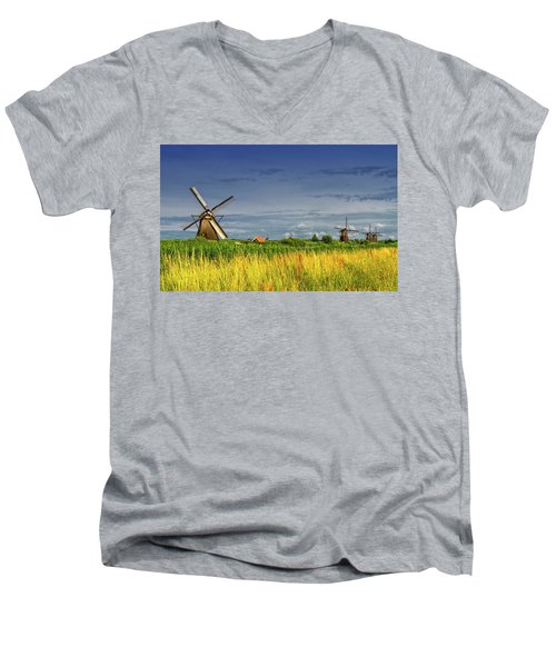 Windmills In Kinderdijk, Holland, Netherlands Men's V-Neck T-Shirt by Elenarts - Elena Duvernay photo