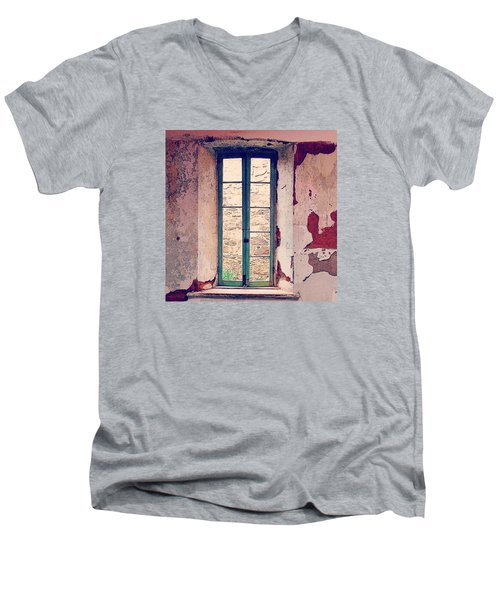 Window In Eastern State Pennitentiary Men's V-Neck T-Shirt by Sharon Halteman