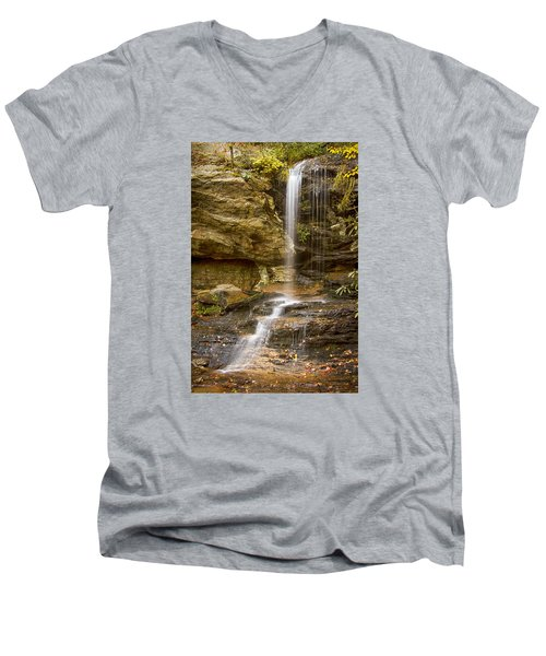 Men's V-Neck T-Shirt featuring the photograph Window Falls In Hanging Rock State Park by Bob Decker