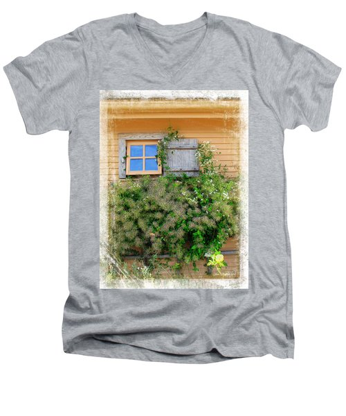 Men's V-Neck T-Shirt featuring the photograph Window Floral In Plymouth by Joan  Minchak