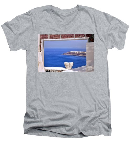 Window View To The Mediterranean Men's V-Neck T-Shirt by Madeline Ellis