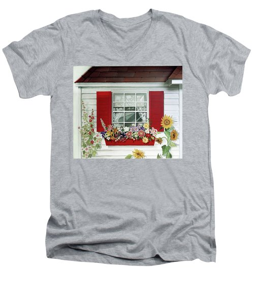 Windowbox With Cat Men's V-Neck T-Shirt by Bonnie Siracusa
