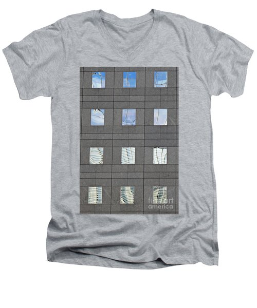 Men's V-Neck T-Shirt featuring the photograph Windows Of 2 World Financial Center   by Sarah Loft
