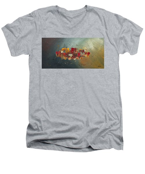 Men's V-Neck T-Shirt featuring the painting Winds Of Prosperity by Carmen Guedez