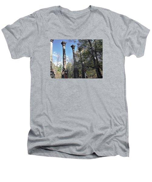 Windsor Ruins Men's V-Neck T-Shirt by Helen Haw